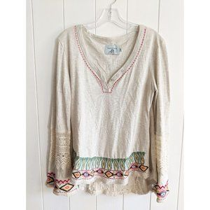 JUDITH MARCH BoHo Hippy Embroidered Tunic Sz M